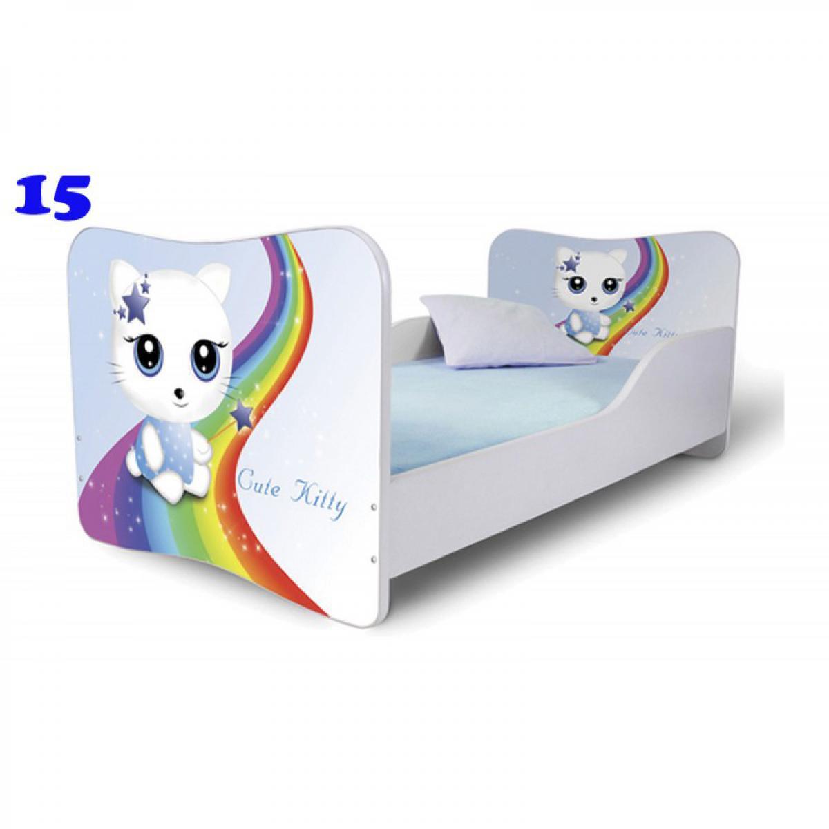 Bim Furniture Lit Enfant 140x70 cm Cute Kitty Arc en Ciel avec sommier et matelas