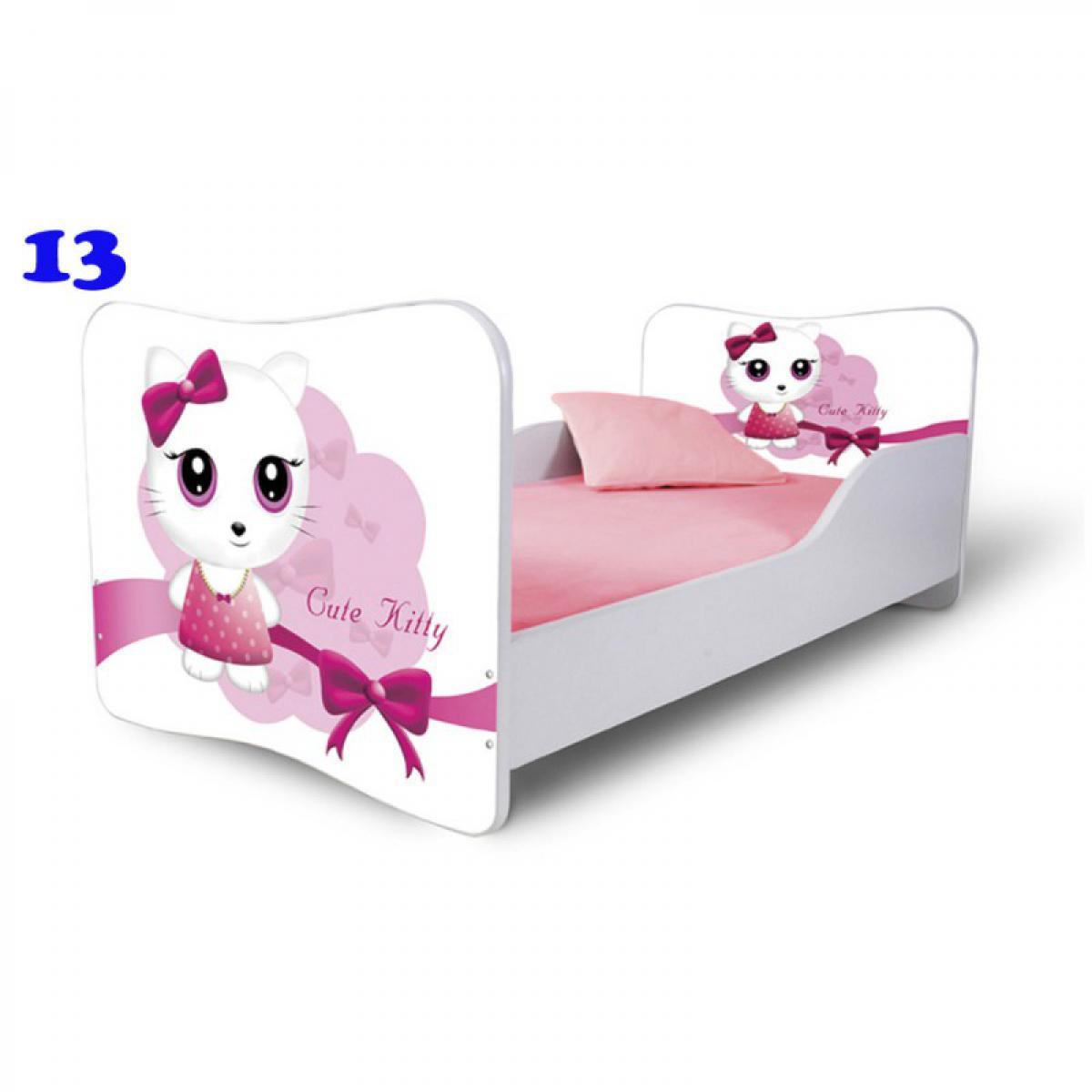 Bim Furniture Lit Enfant 140x70 cm Cute Kitty Blanc avec sommier et matelas