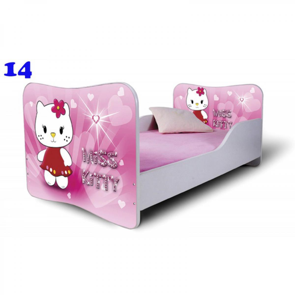 Bim Furniture Lit Enfant 140x70 cm Miss Kitty Rose avec sommier et matelas