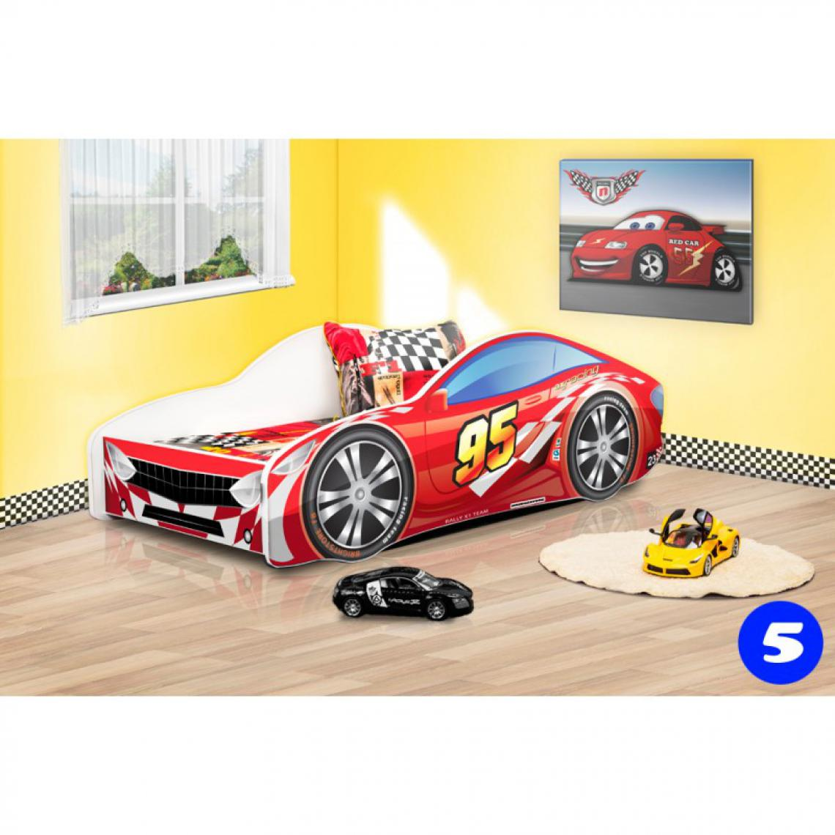 Bim Furniture Lit Voiture Enfant 140x70 cm Rouge 95 avec sommier et matelas