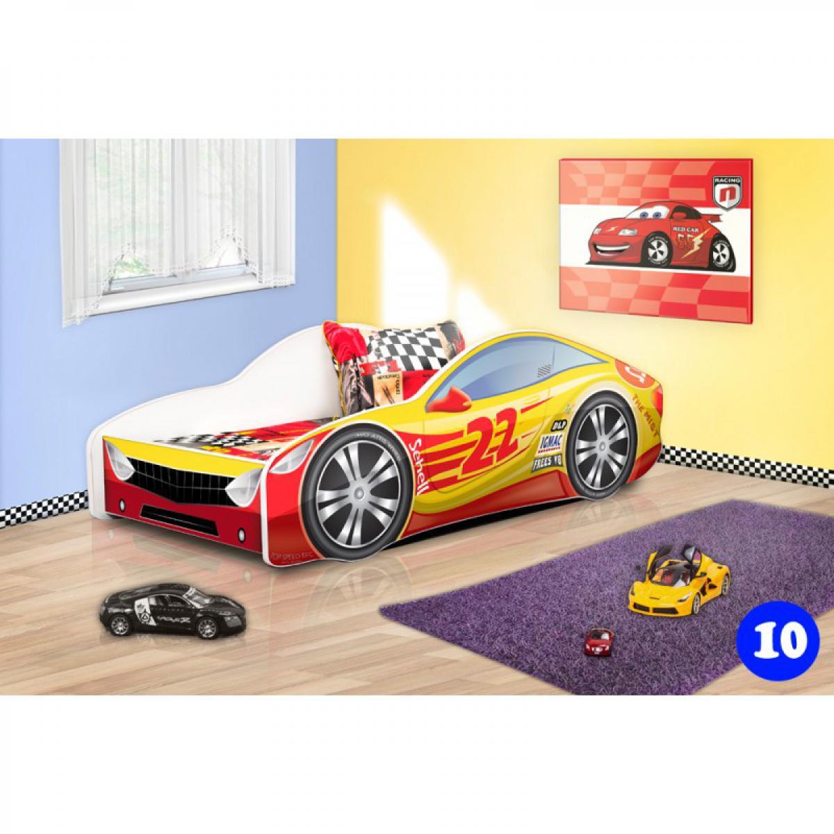 Bim Furniture Lit Voiture Enfant 140x70 cm Rouge et Jaune 22 avec sommier et matelas