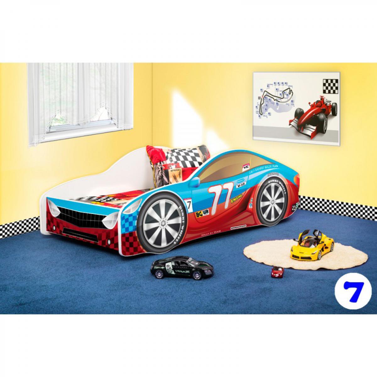 Bim Furniture Lit Voiture Enfant 160x80 cm Rouge et Bleu 77 avec sommier et matelas