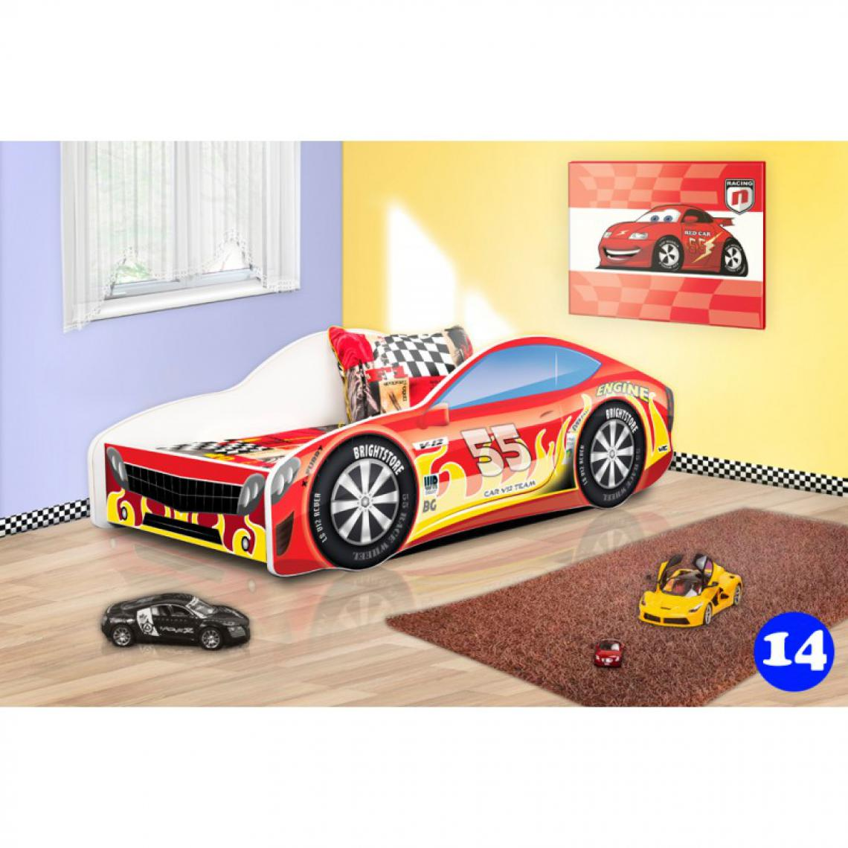 Bim Furniture Lit Voiture Enfant 160x80 cm Rouge et Jaune 55 avec sommier et matelas