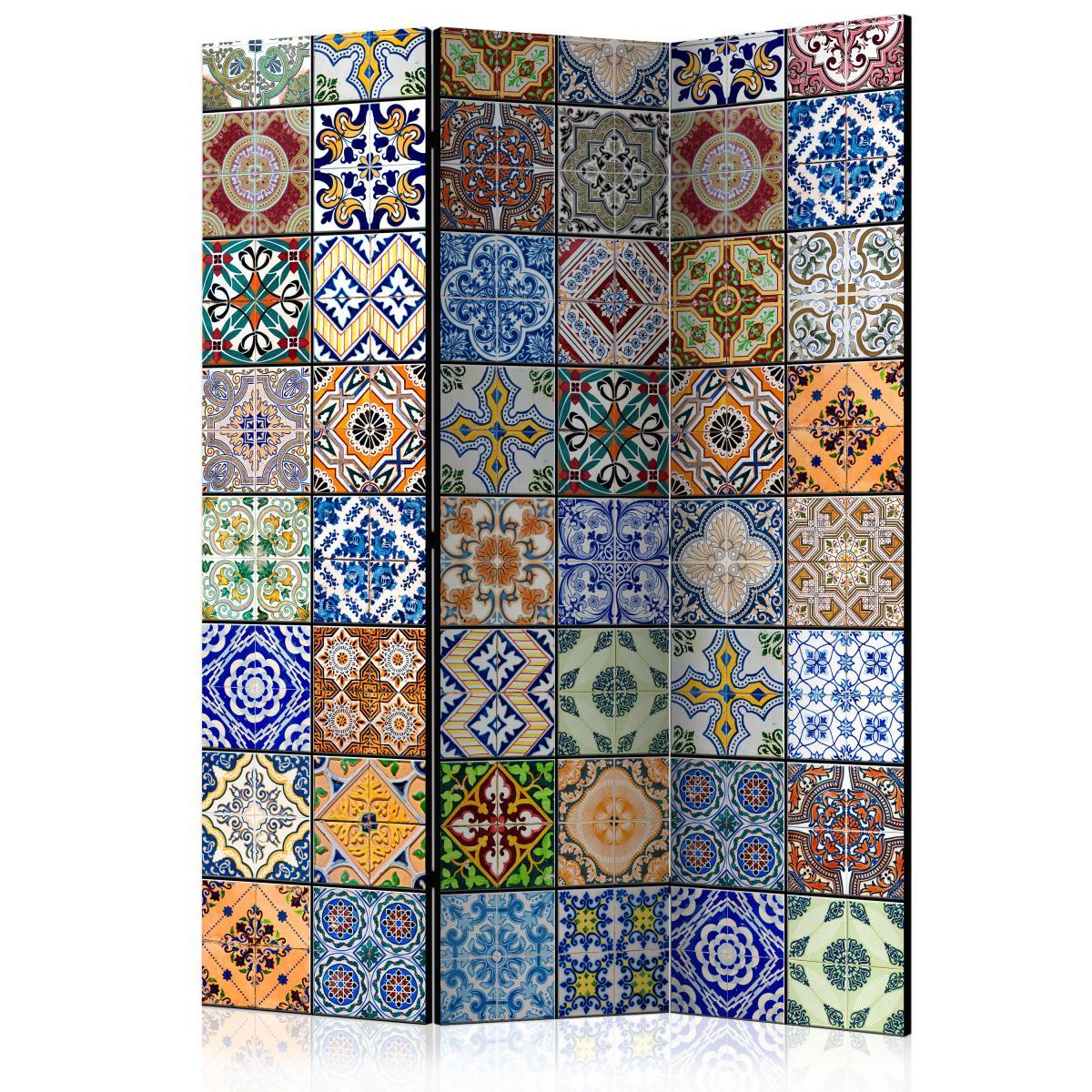 Bimago Paravent 3 volets - Paravent: Mosaïque colorée - Décoration, image, art   135x172 cm  