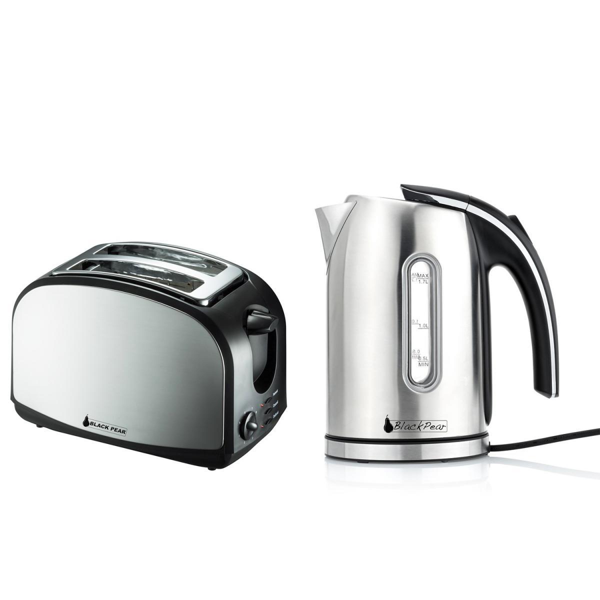 Blackpear Set petit déj - Bouilloire 2200W 1.7L finition inox + Grille-pain 2 fentes inox 900W