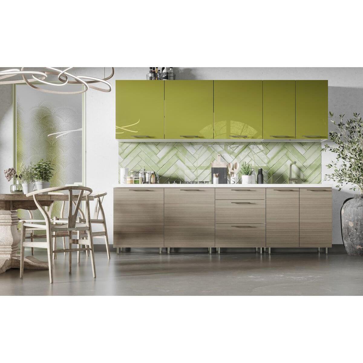 Bobochic BOBOCHIC Cuisine complète GARANCE 2,60M Vert Brillant et Bois beige