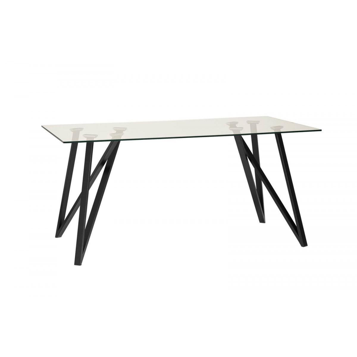Bobochic BOBOCHIC Table 160 cm YORK Verre trempé et Métal Noir