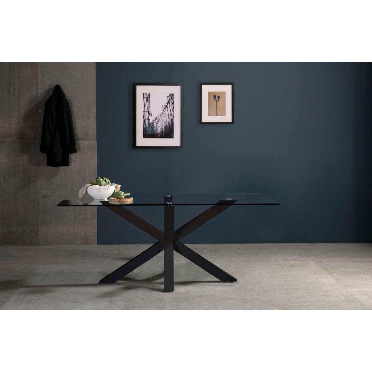 Bobochic BOBOCHIC Table 180 cm ASTOR Verre trempé et Métal Noir