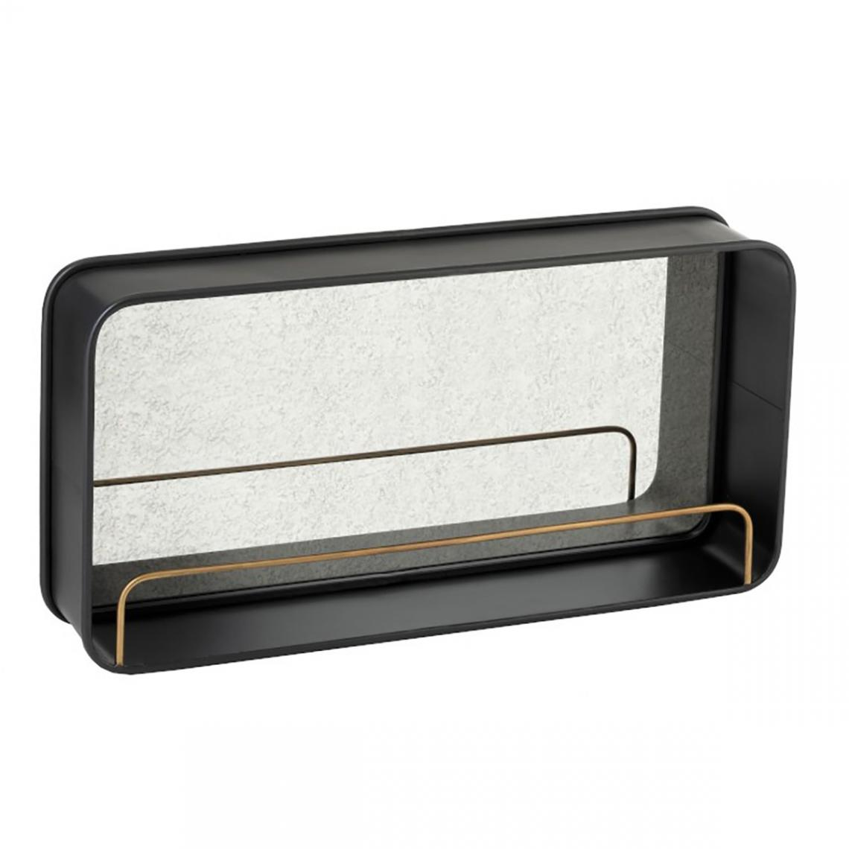 Bois Dessus Bois Dessous Miroir en métal noir avec étagère dorée