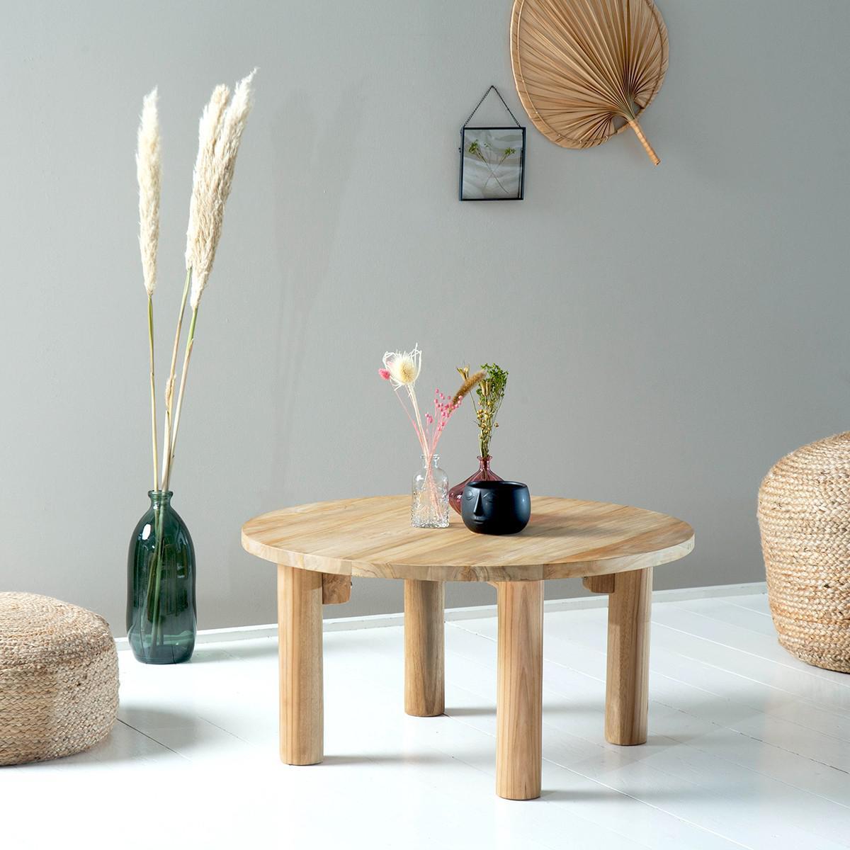 Bois Dessus Bois Dessous Table basse ronde en bois de teck 80 cm