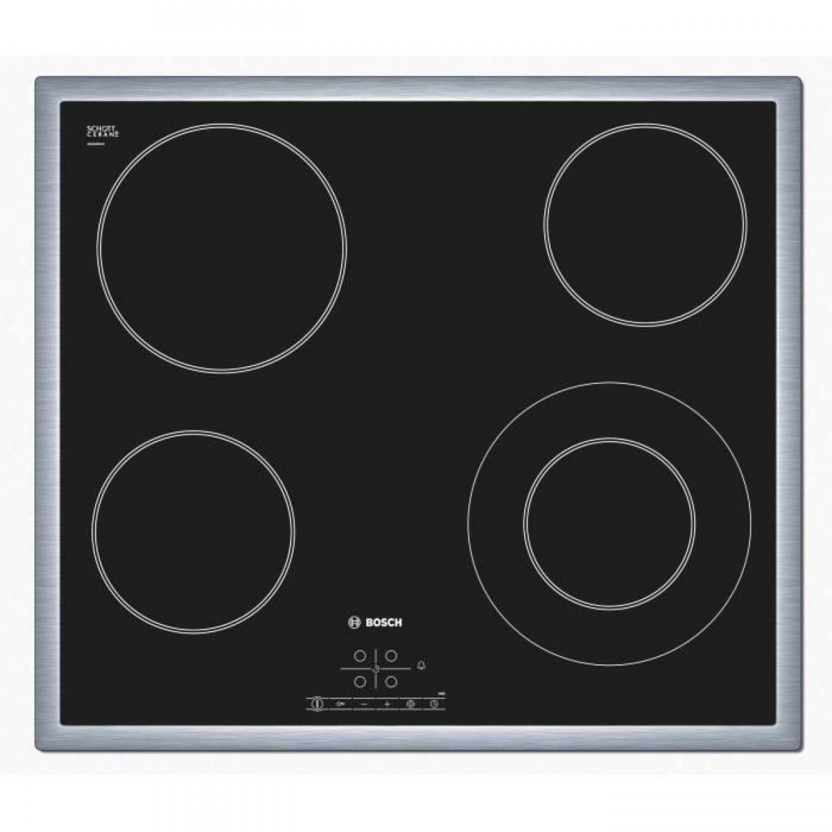 Bosch BOSCH PKF645B17E Table de cuisson Vitrocéramique - 4 foyers - 6600W - L57,5 x P50,5cm - Revetement verre - Noir