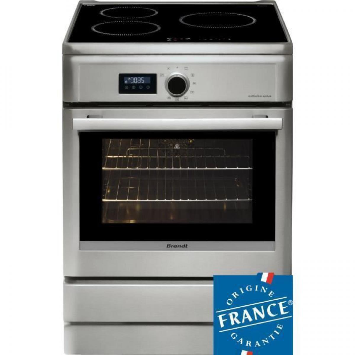 Brandt BRANDT BCI6658T-Cuisiniere table induction-3 zones-Four electrique-Pyrolyse-57 L-A-L 60 x H 85 cm-Silver