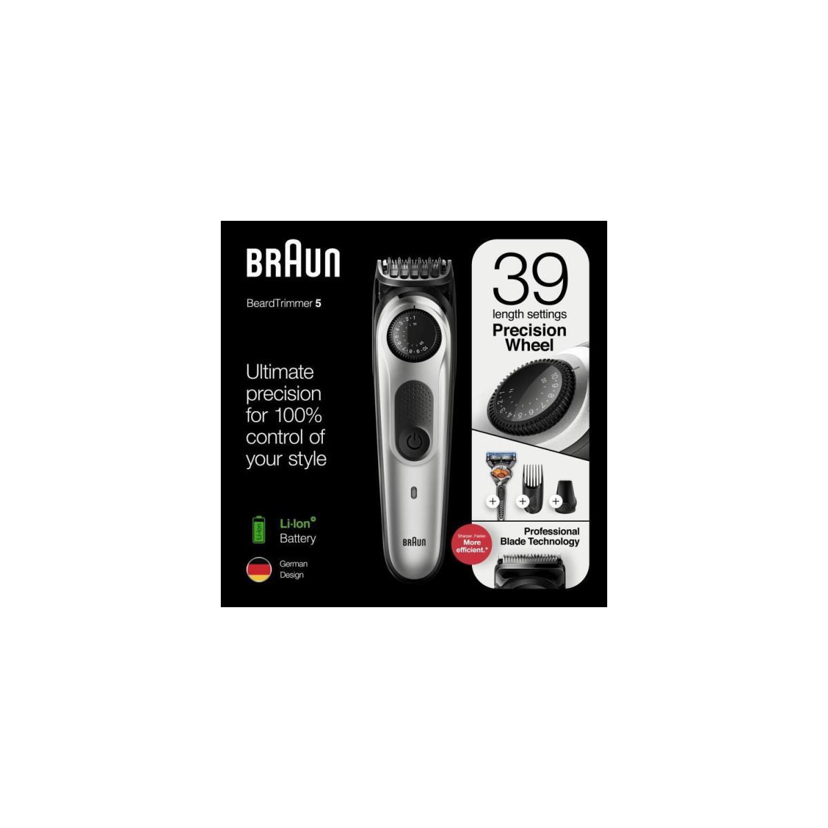 Braun Braun BT5260 Tondeuse barbe et cheveux pour homme - 39 longueurs - 100min de tonte sans fil - 1h de charge - Noir/Argent