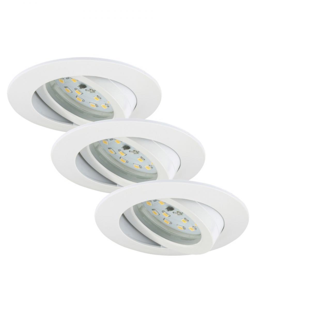 Briloner Leuchten Set 3 Spot Encastrables LED Orientable BRILONER Module 5,5W 470lm dimmable Ip23 Blanc
