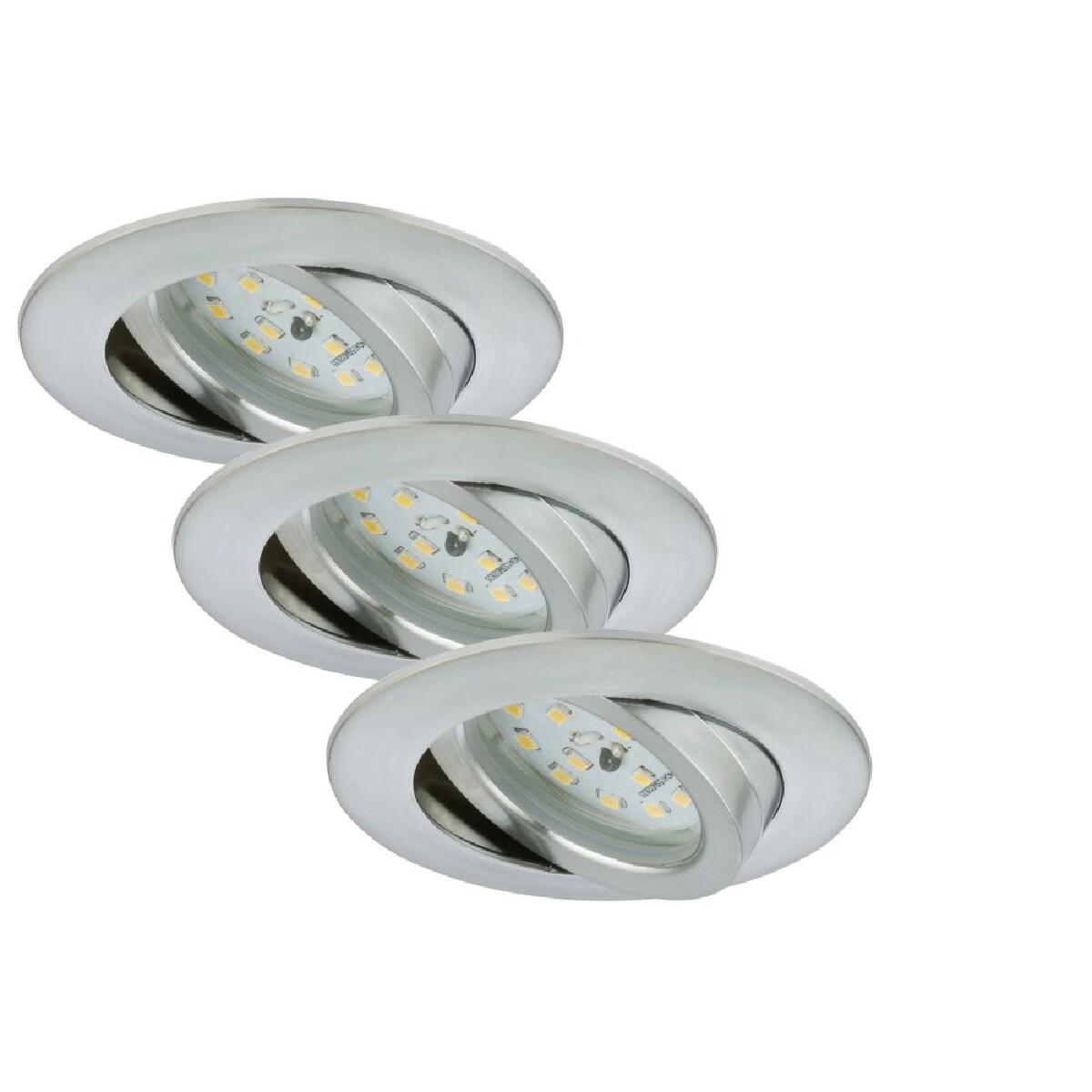 Briloner Leuchten Set 3 Spot Encastrables LED Orientable BRILONER Module 5,5W 470lm dimmable Ip23 Aluminium