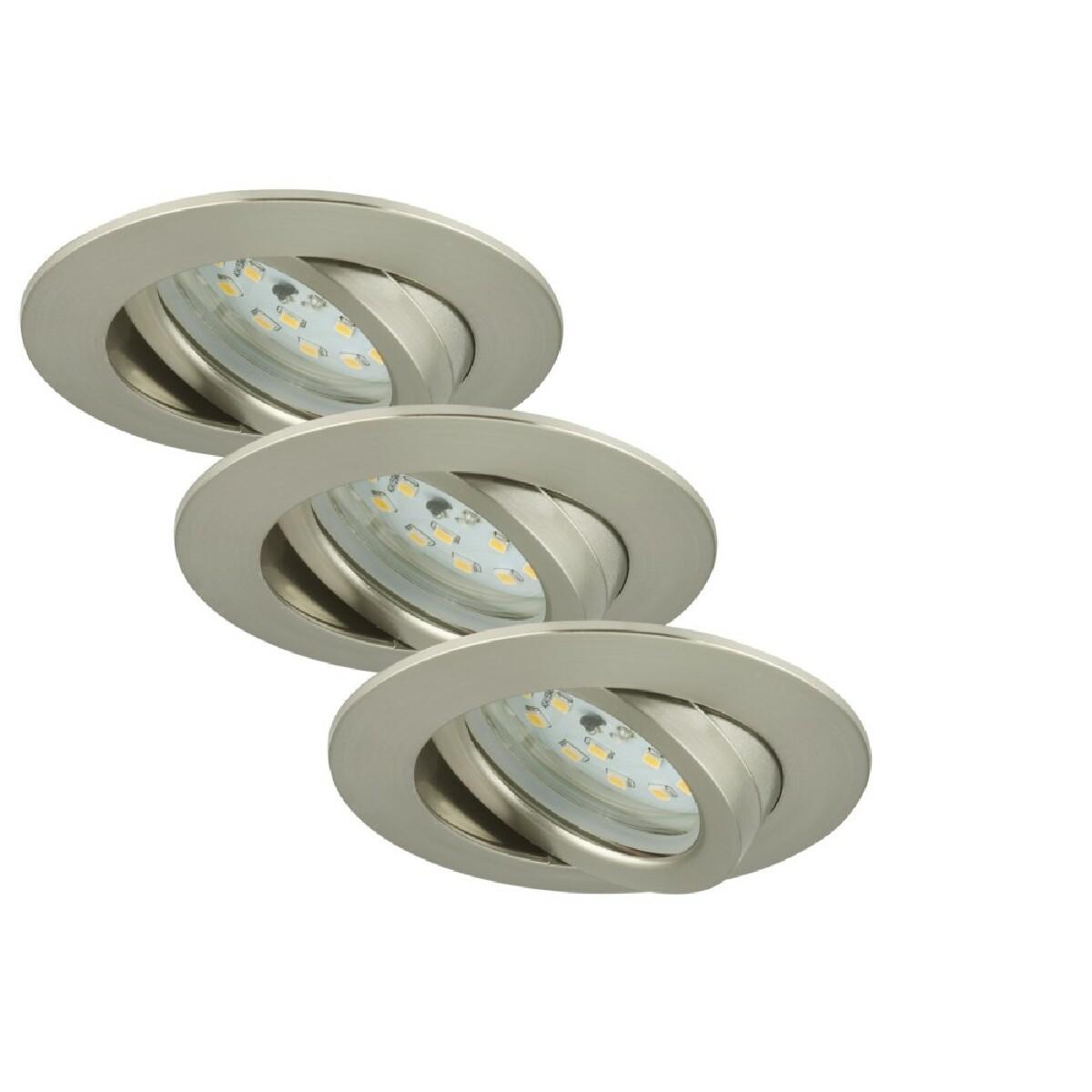 Briloner Leuchten Set 3 Spot Encastrables LED Orientable BRILONER Module 5,5W 470lm dimmable Ip23 Nickel Mat