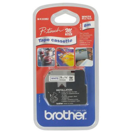 Brother - Ruban étiqueteuse métallisé Brother MK223 9 mm - blanc écriture bleue. Longueur 8 m - Brother