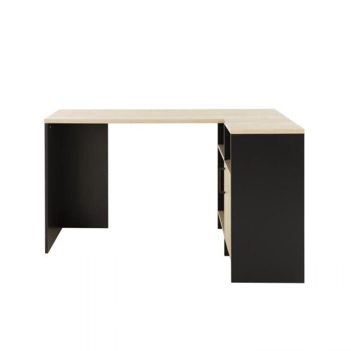 Camif CARDIF Bureau dangle - Decor chene et noir - L 88 x P 136 x H 76 cm