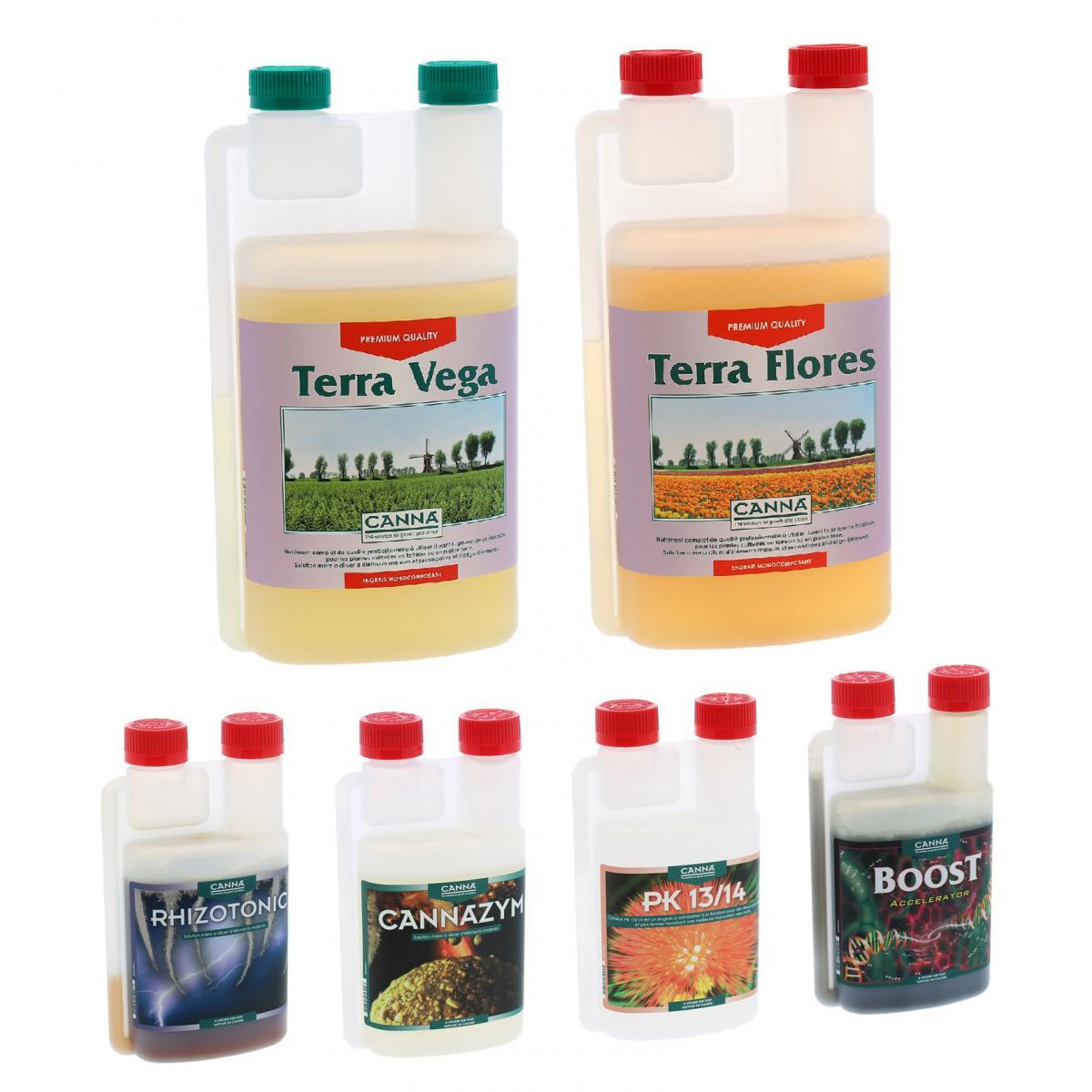 Canna Pack engrais TERRA Vega & Flores 1 litre + boosters CANNA
