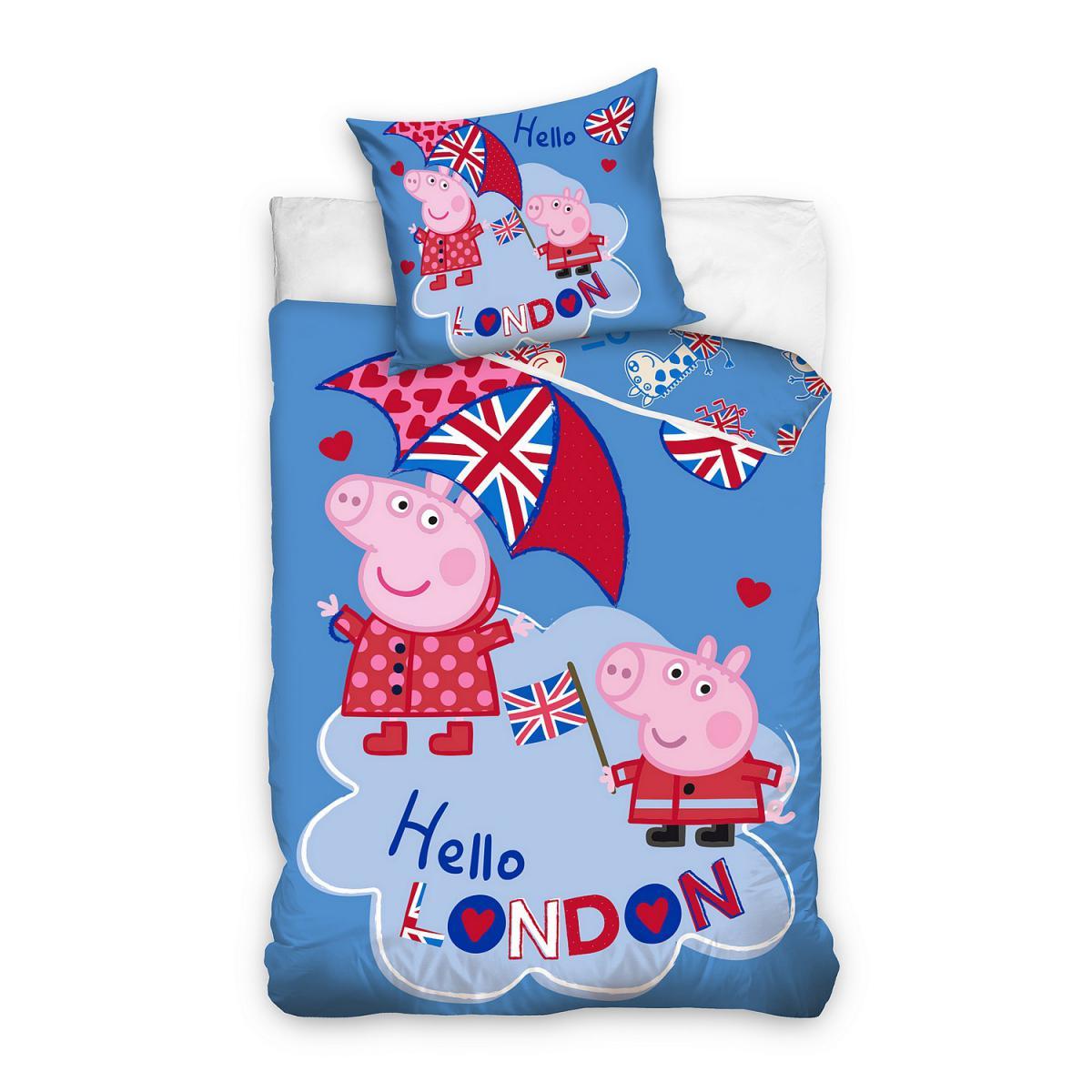 Carbotex Parure de lit Peppa Pig Hello London Nickelodeon 140x200cm