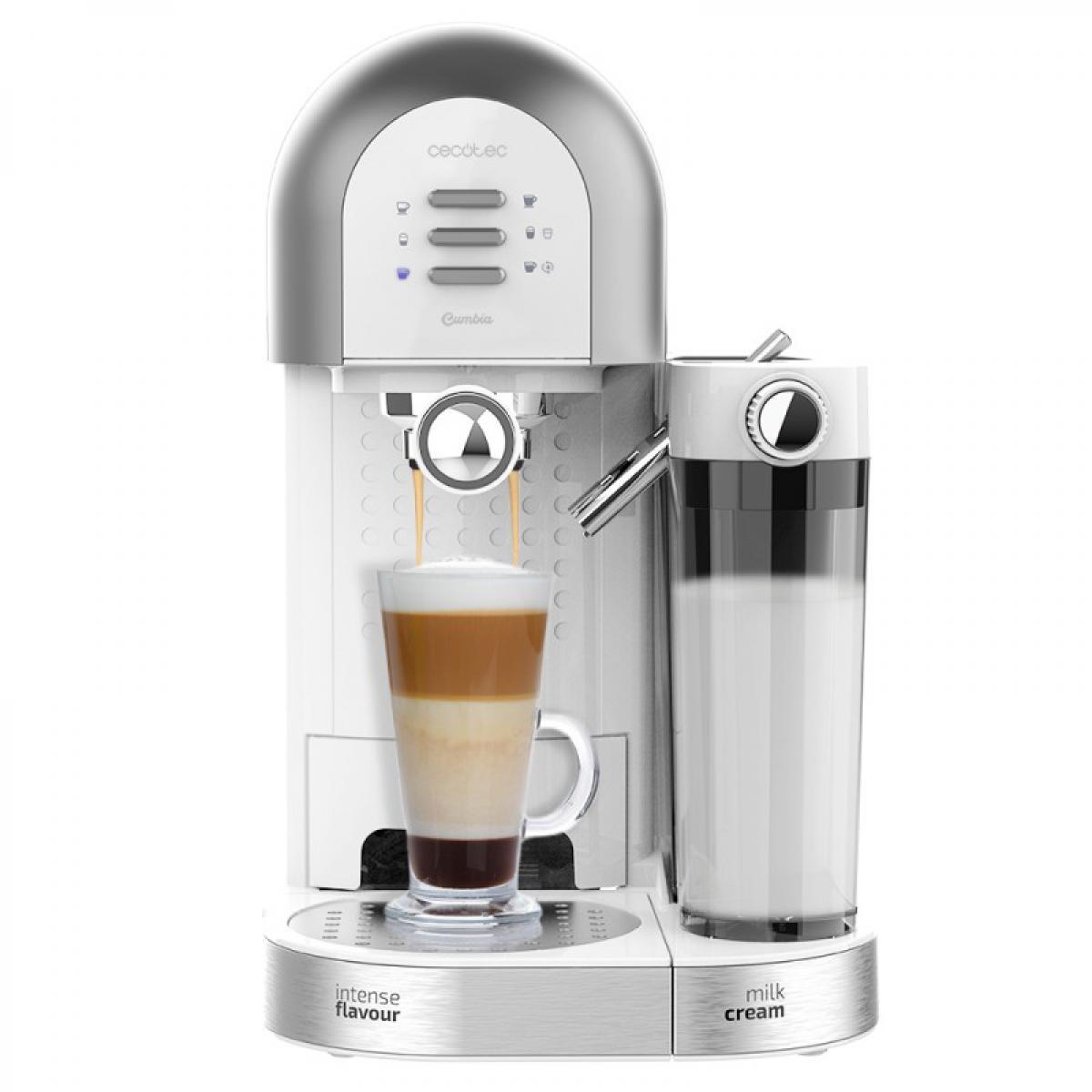 Cecotec Cecotec, Cafetière Semiautomatique, Power Instantccino 20 Chic Serie Bianca, Café moulu et capsules, 20 bars, Réservoir