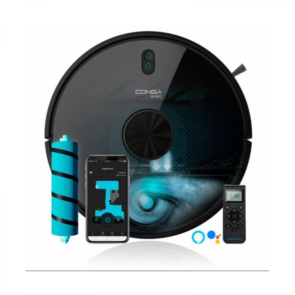 Cecotec Cecotec, Robot Aspirateur, Conga 6090 Ultra, Laser, puissance d'aspiration 10000 Pa, App, Capteur optique, Virtual Voice