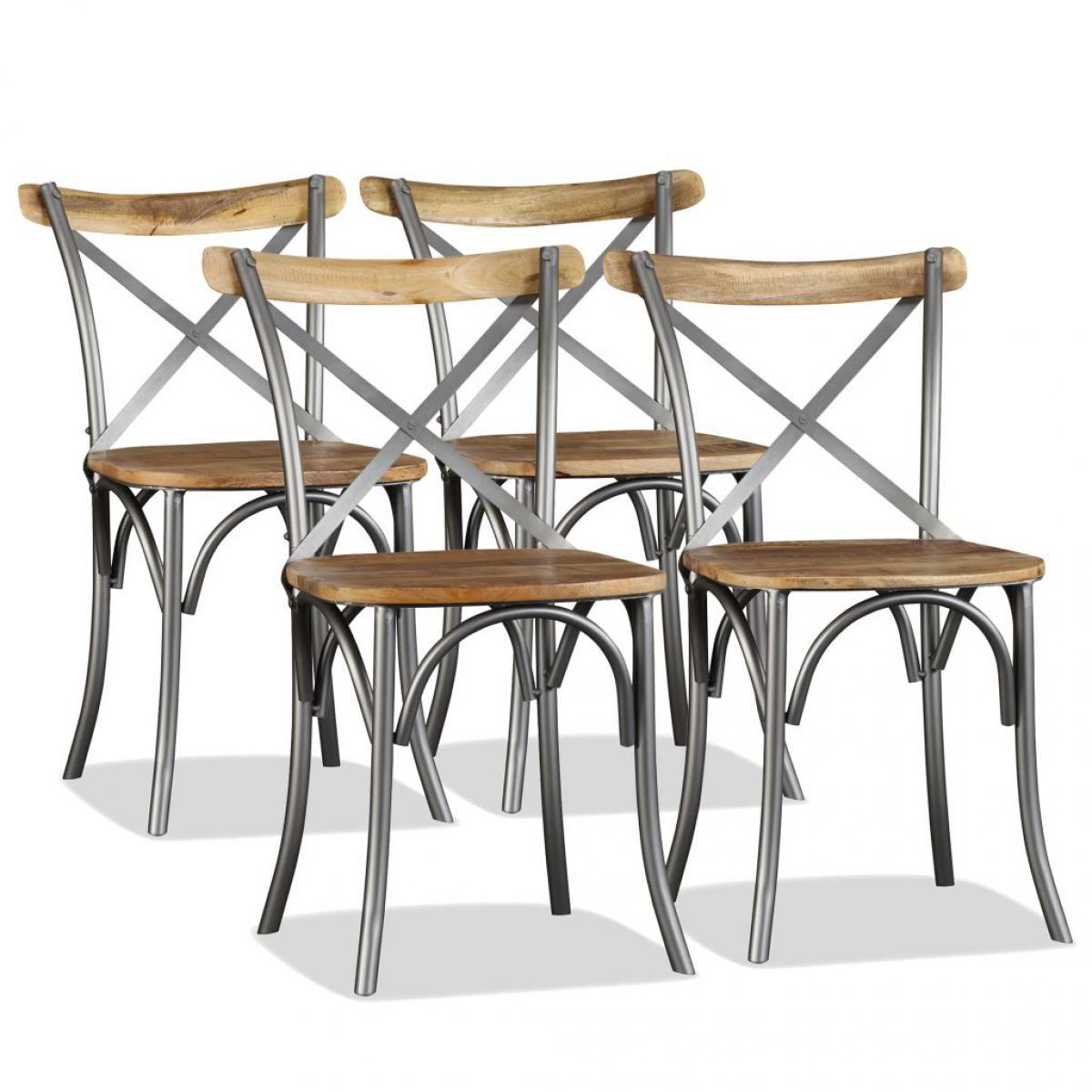 Chunhelife Chaise de salle à manger 4 pcs Bois de manguier massif et acier