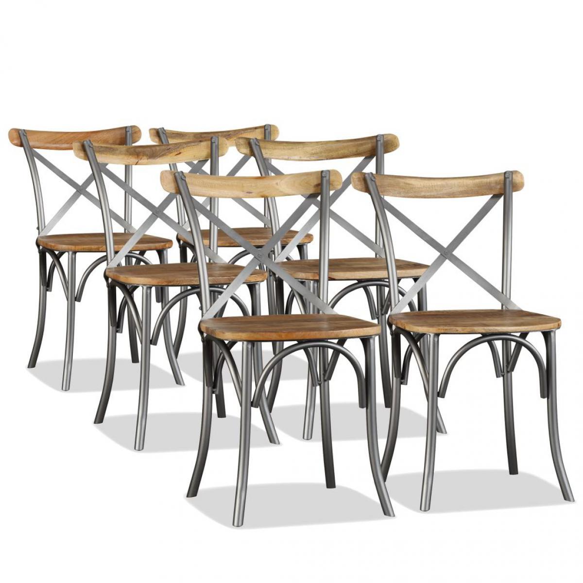 Chunhelife Chaise de salle à manger 6 pcs Bois de manguier massif et acier