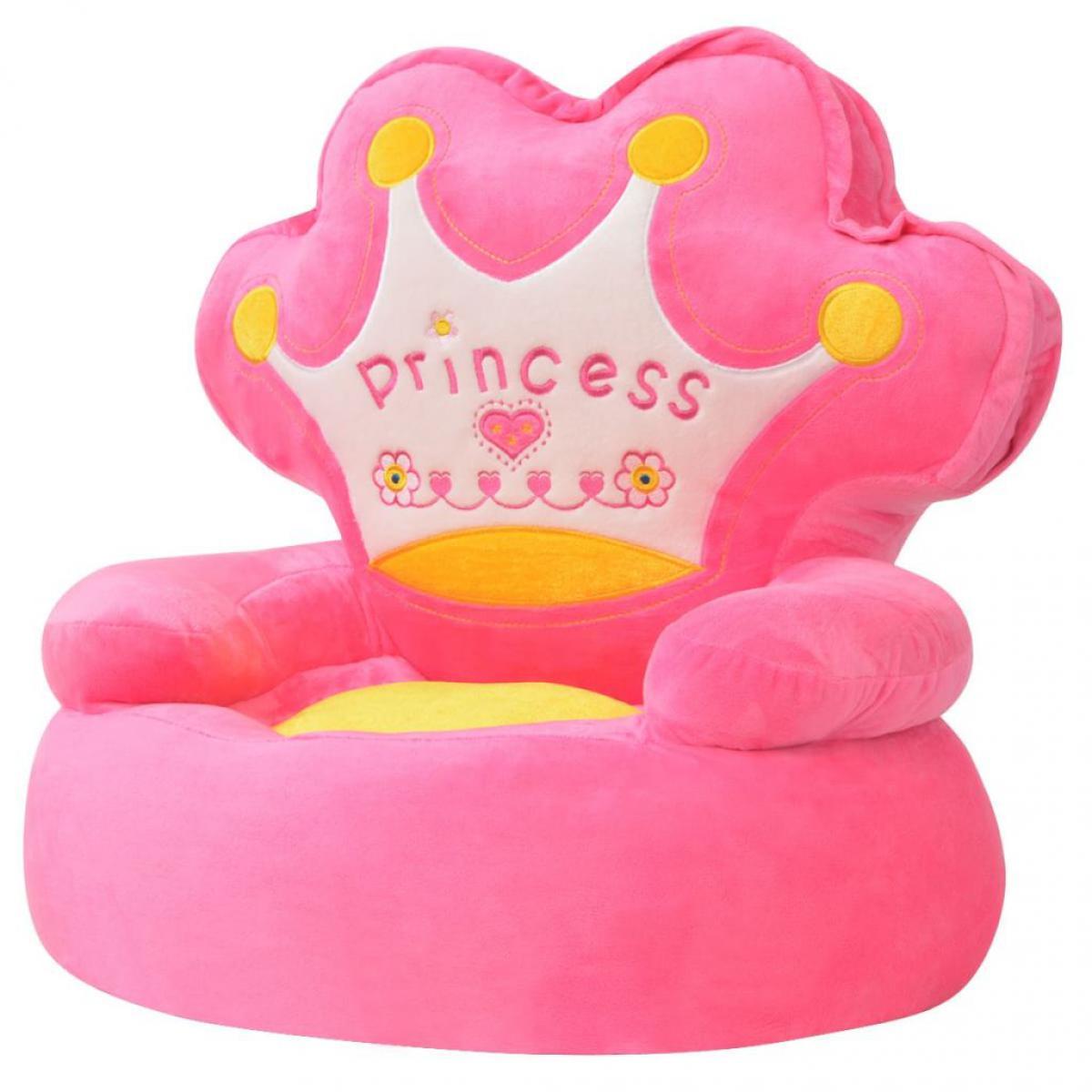 Chunhelife Chaise en peluche pour enfants Princesse Rose