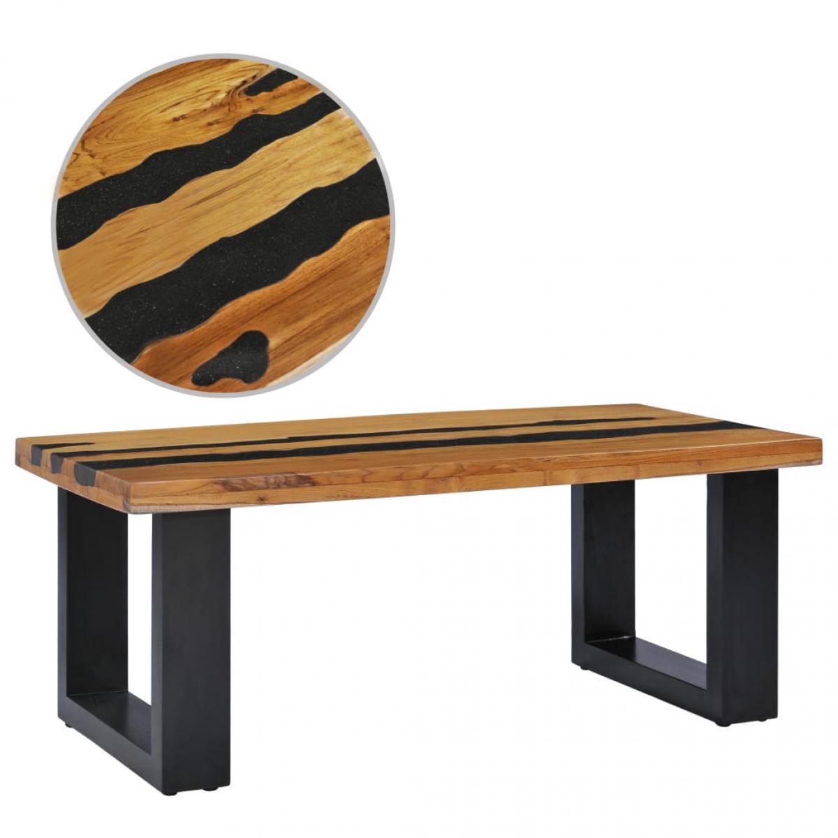 Chunhelife Table basse 100x50x40 cm Bois de teck massif et pierre de lave