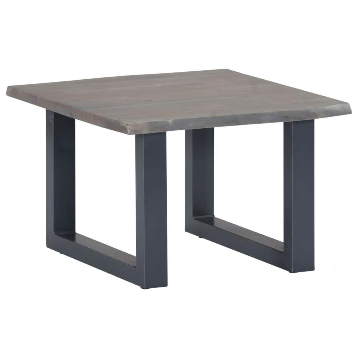 Chunhelife Table basse avec bord naturel Gris 60x60x40 cm Bois d'acacia