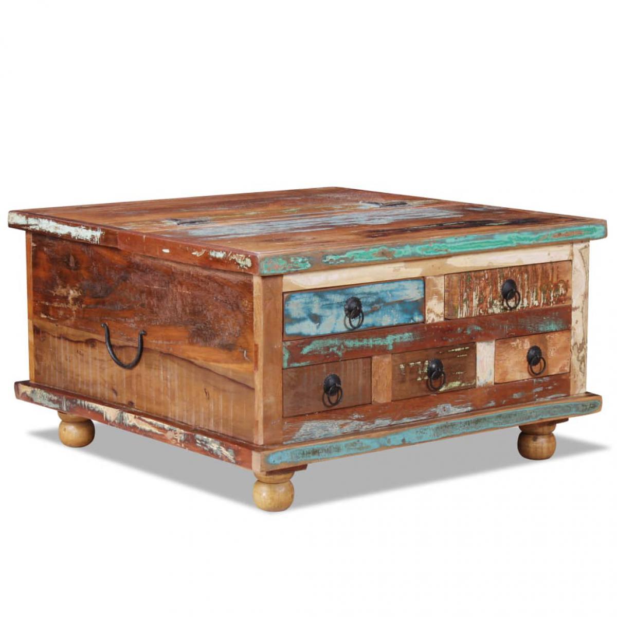 Chunhelife Table basse Bois de récupération 70 x 70 x 38 cm