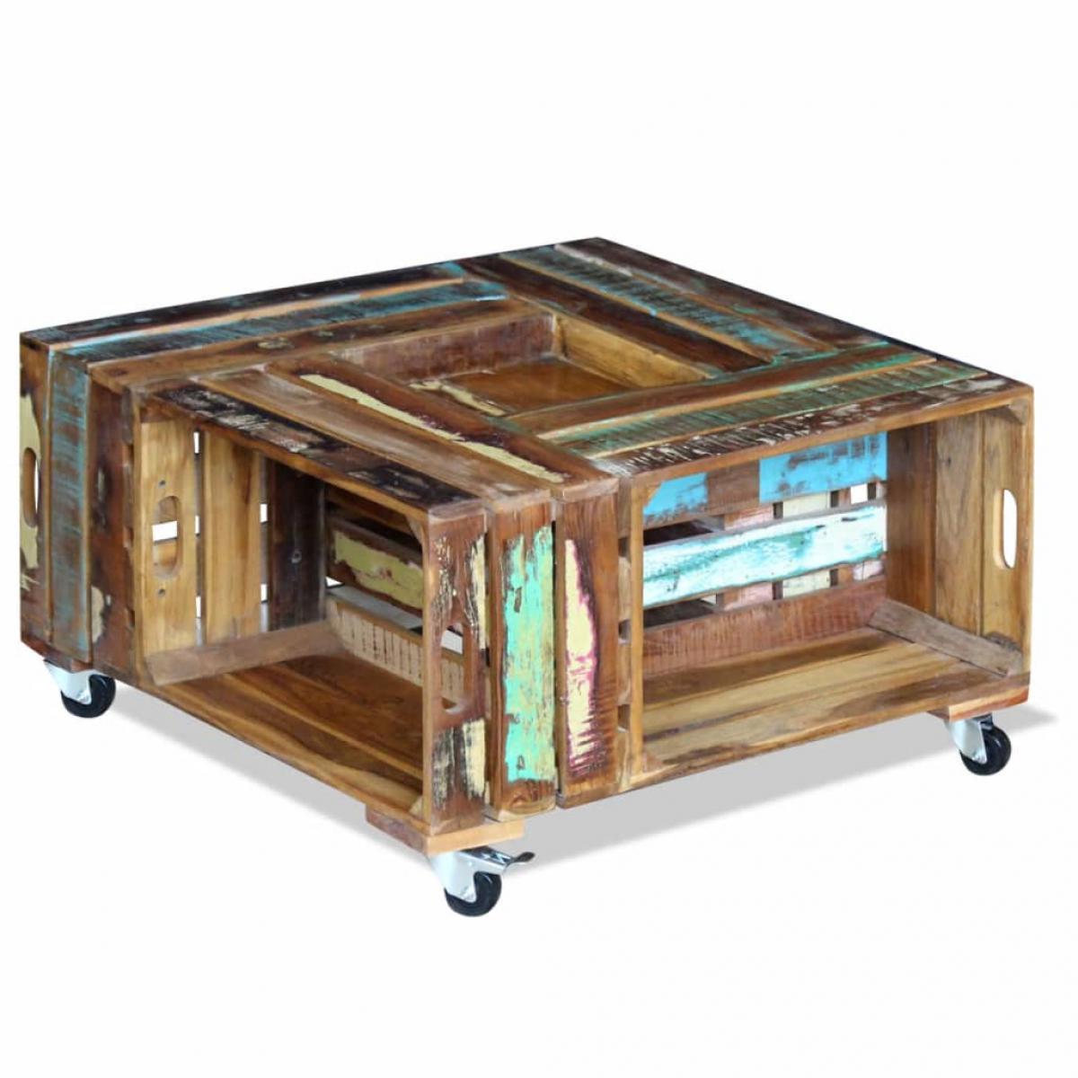Chunhelife Table basse Bois de récupération massif 70 x 70 x 35 cm