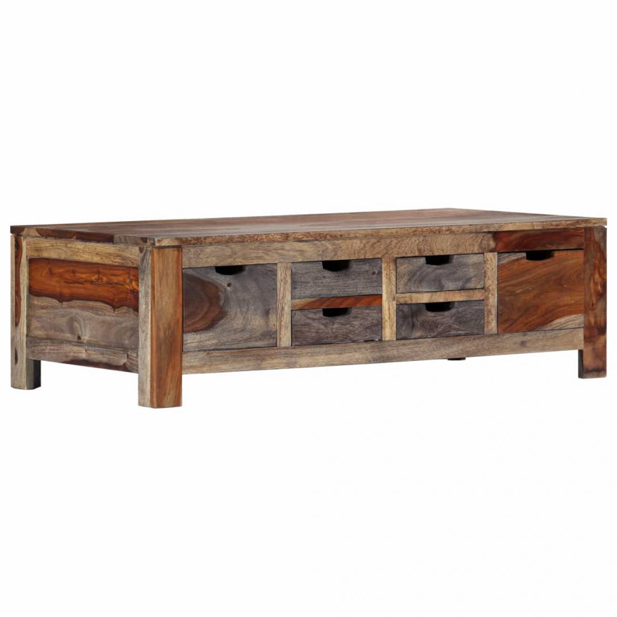Chunhelife Table basse Gris 100 x 55 x 30 cm Bois de Sesham massif
