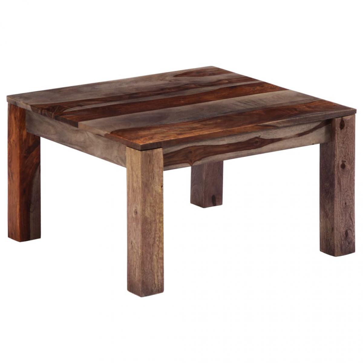 Chunhelife Table basse Gris 60 x 60 x 35 cm Bois de Sesham massif