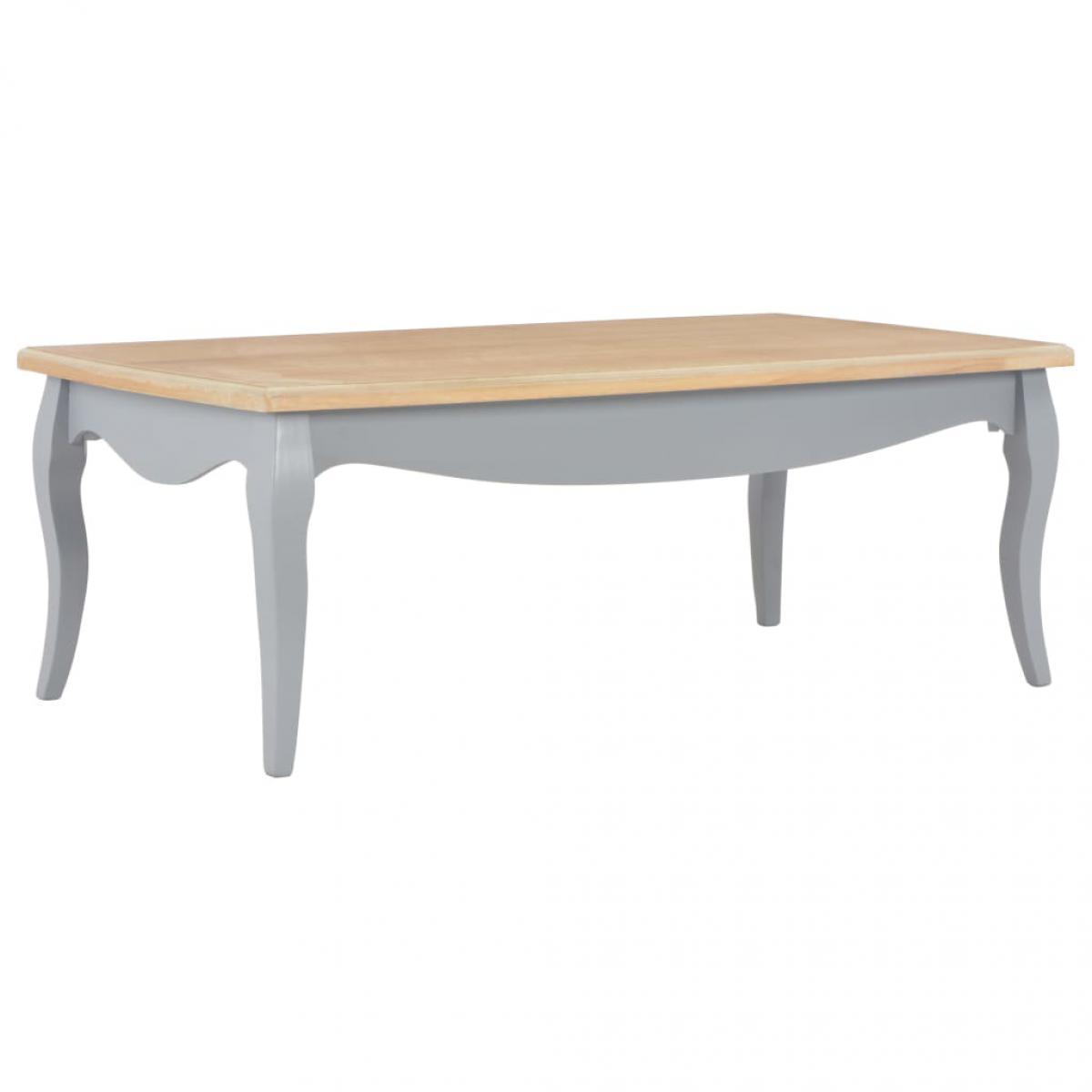 Chunhelife Table basse Gris et marron 110 x 60 x 40 cm Bois de pin massif