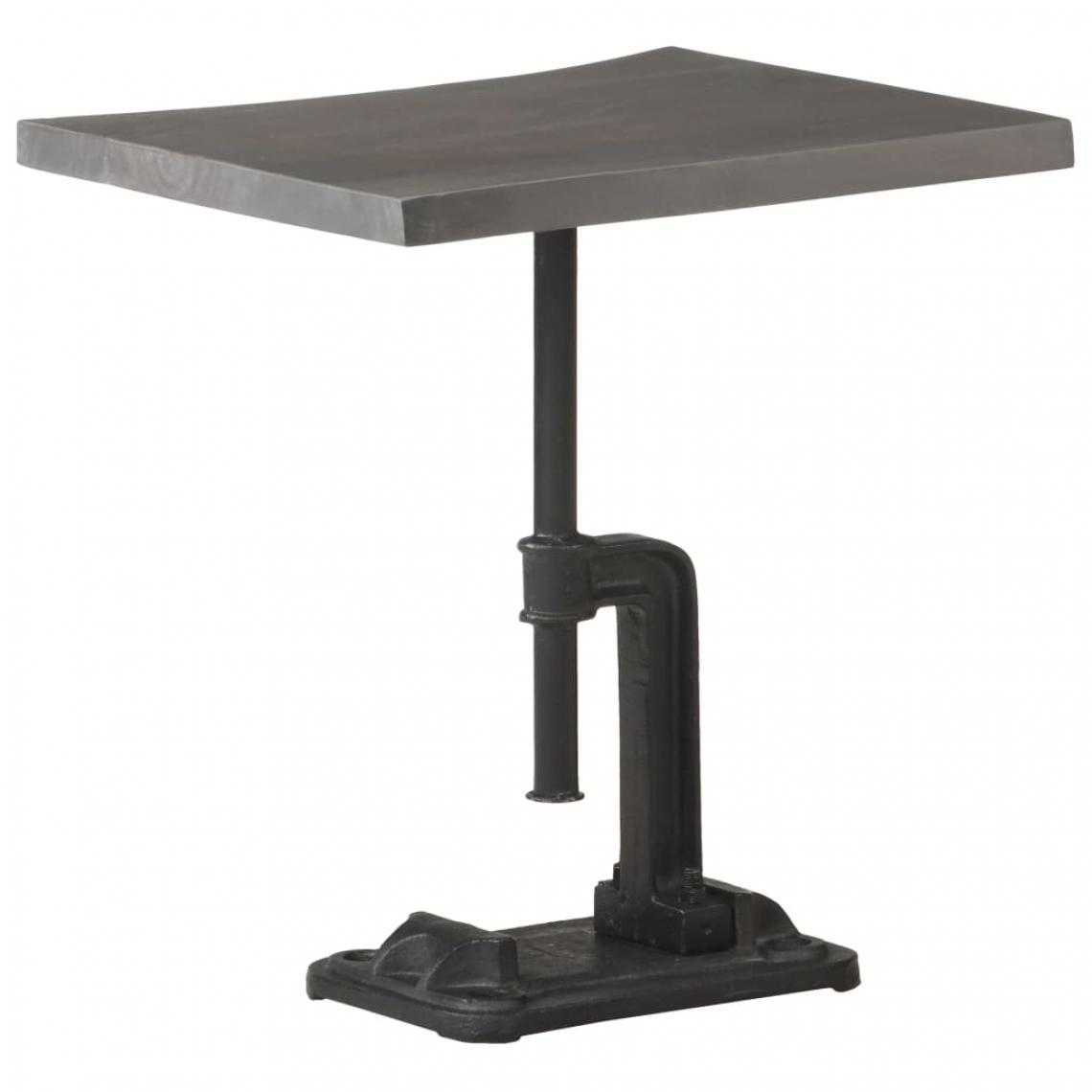 Chunhelife Table d'appoint Gris 45x35x48 cm Bois d'acacia massif et fonte