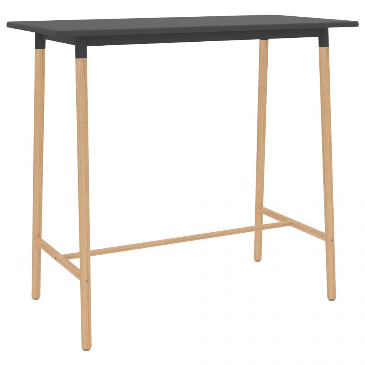 Chunhelife Table de bar Gris 120x60x105 cm MDF et bois de hêtre massif