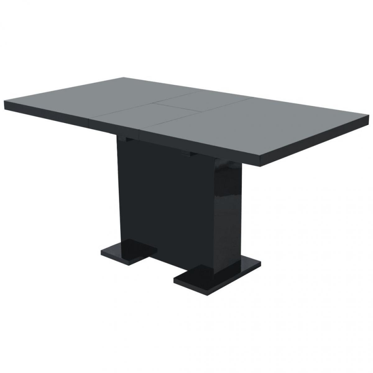 Chunhelife Table extensible de salle à manger Noir brillant
