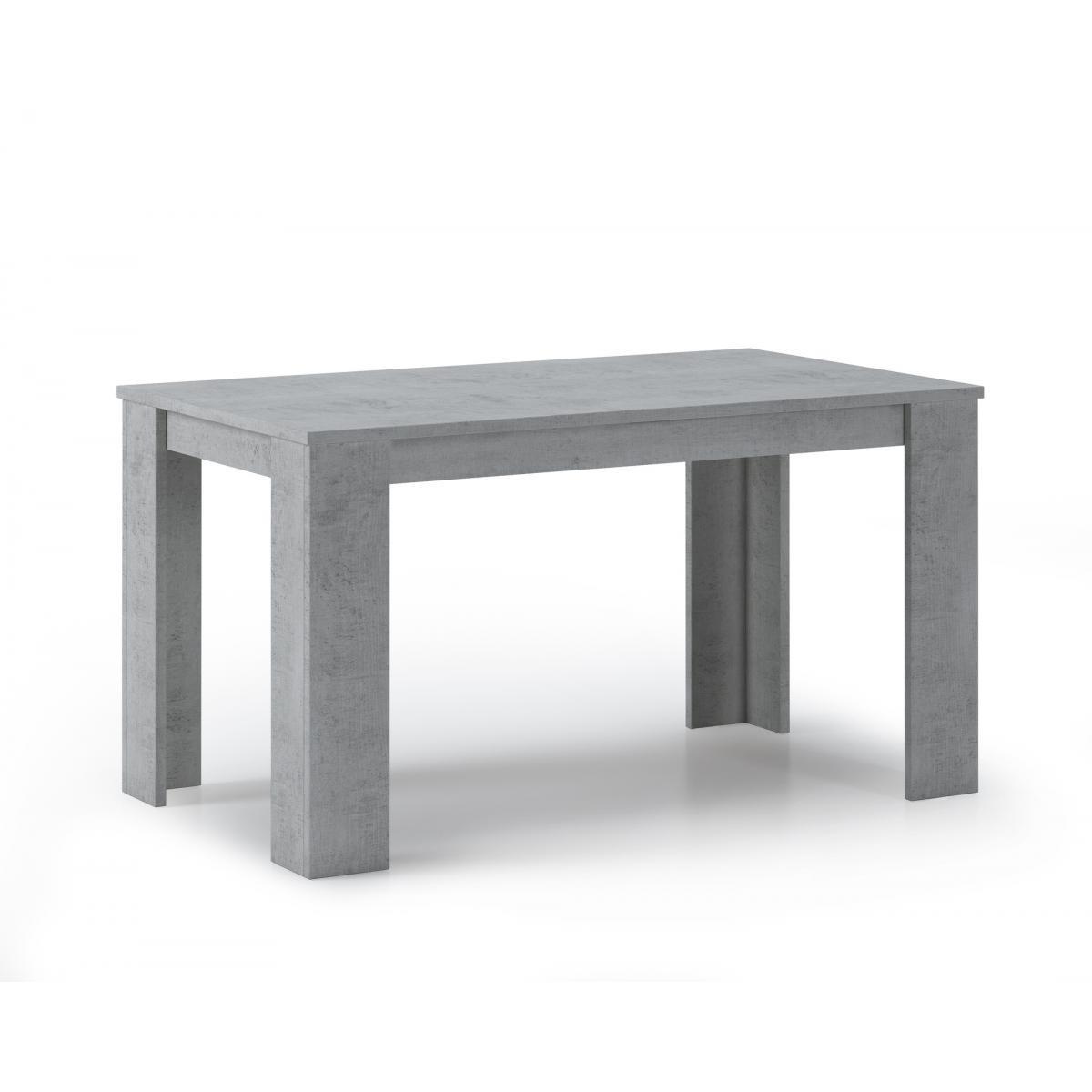 Comfort Table à manger WIND 140 cm, couleur CIMENT, 80x138x75cm