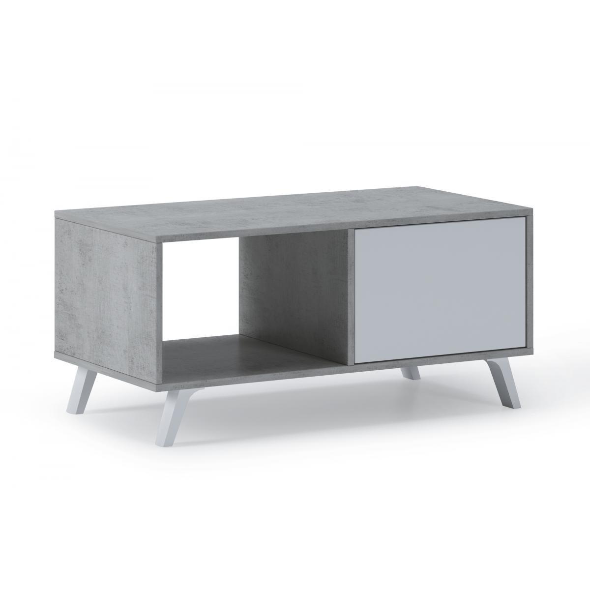 Comfort Table basse 2 portes WIND, CIMENT/Blanc Mat 92x50x45cm