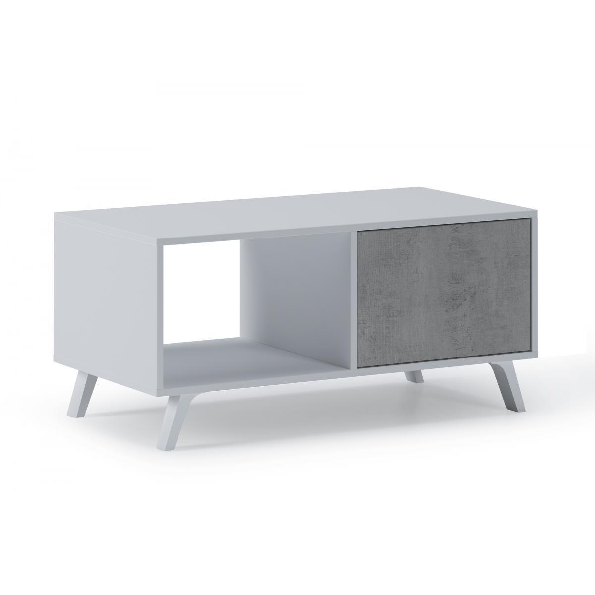 Comfort Table basse avec portes WIND, BLANC/CIMENT, 92x50x45cm