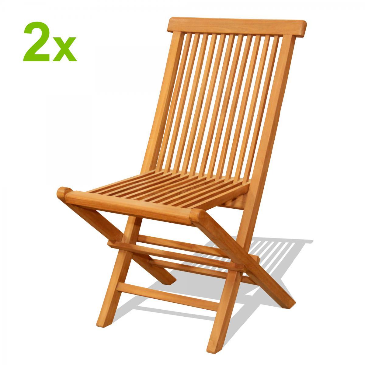 Cote Lounge Lot de 2 chaises pliantes jardin teck massif brut