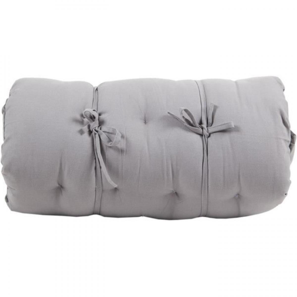 Cotton Wood Futon Coton velours - 60x120x5 cm - Gris clair et anthracite