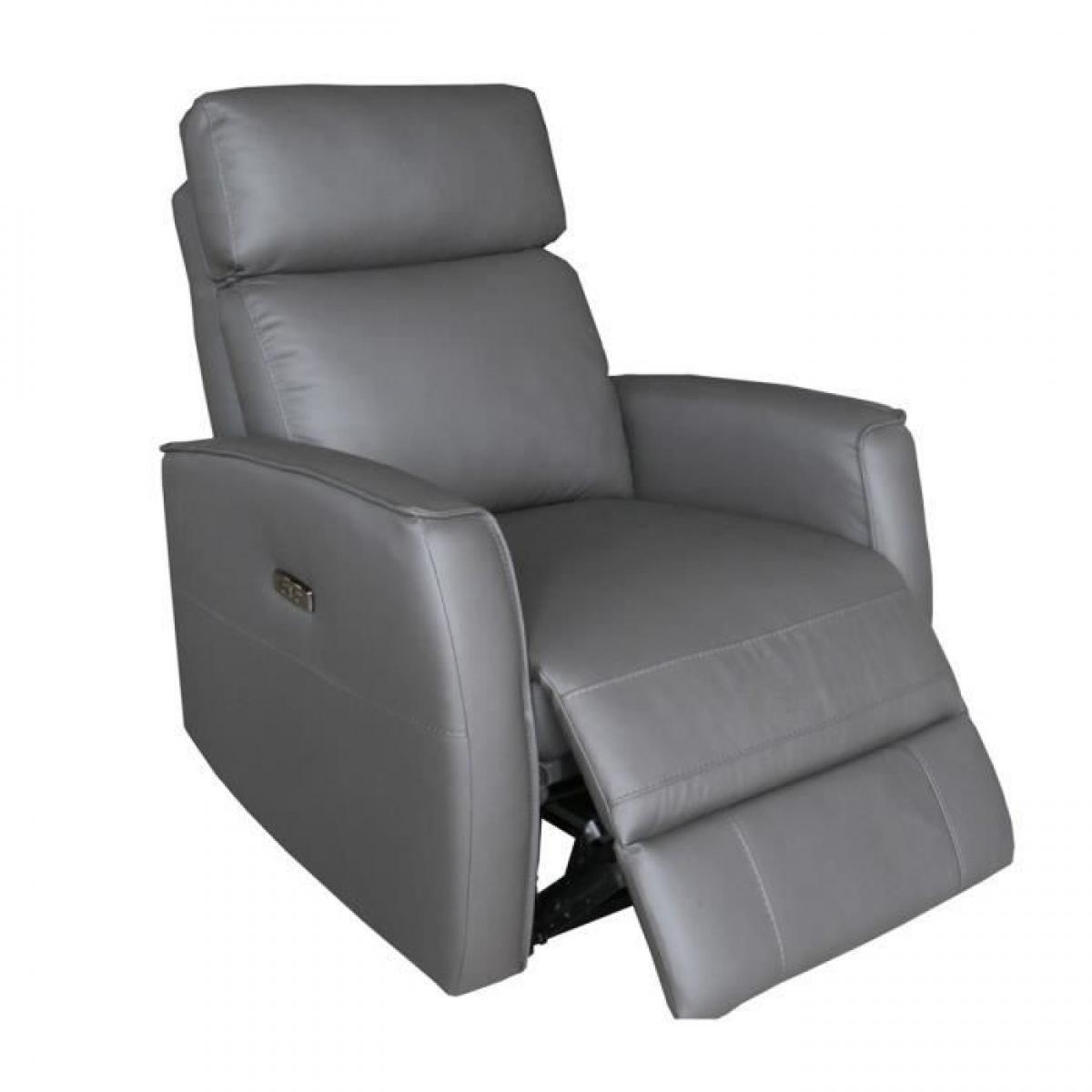 Cstore CAPEL Fauteuil de Relaxation 1 place relax électrique - Cuir gris foncé - L 84 x P 96 x H 104 cm