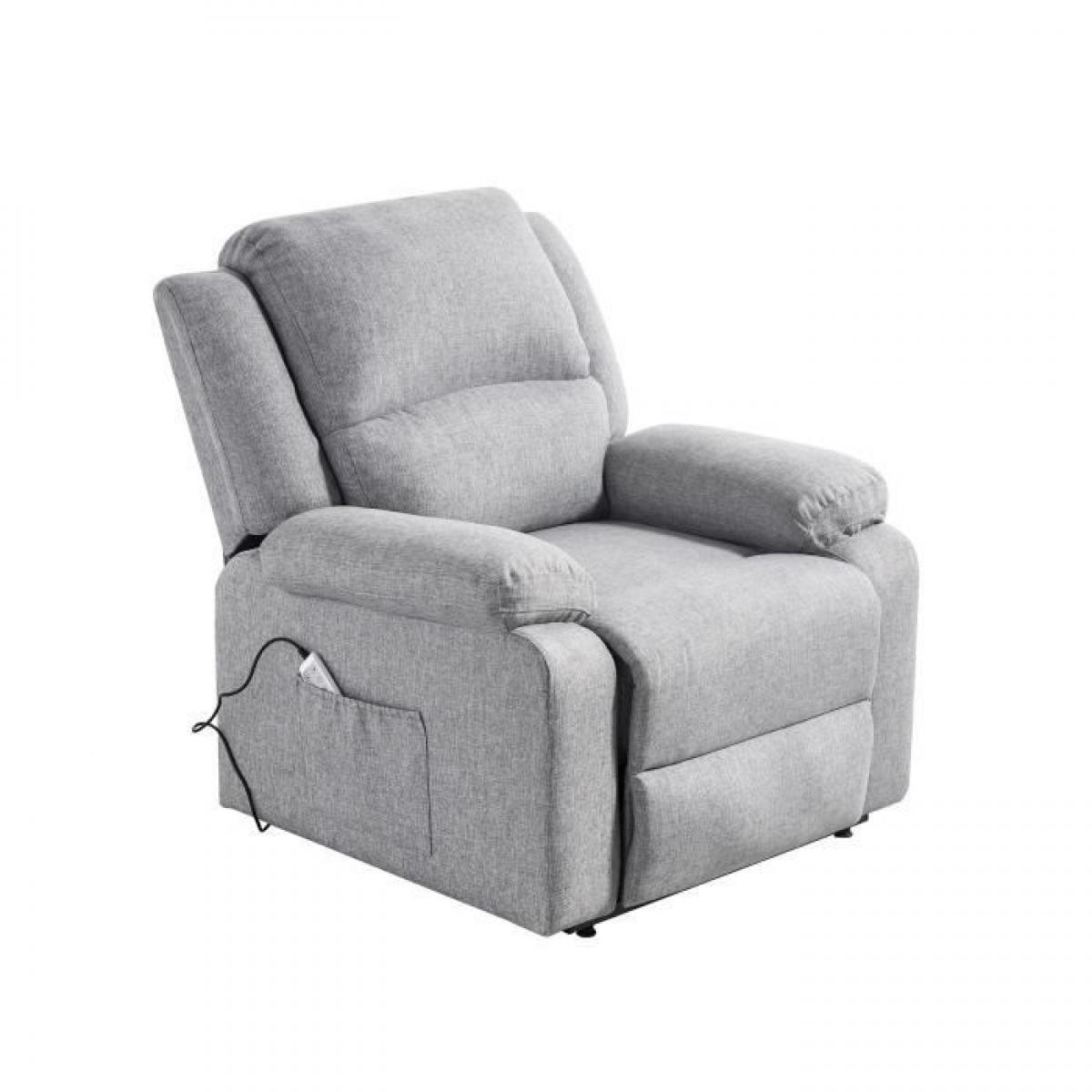 Cstore Fauteuil releveur de relaxation RELAX - Tissu gris chiné - Massant chauffant - Moteur électrique et lift releveur
