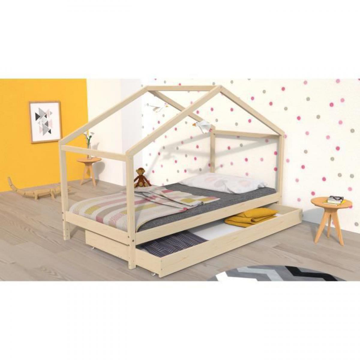 Cstore Lit cabane enfant avec tiroir Bois pin massif