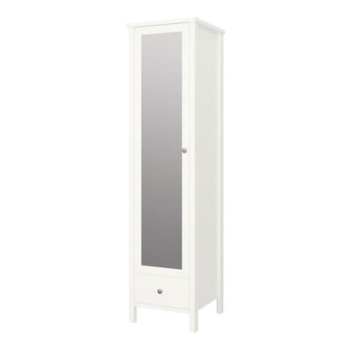 Cstore TROMSÖ Armoire 1 porte miroir + 1 tiroir - Laqué blanc MDF