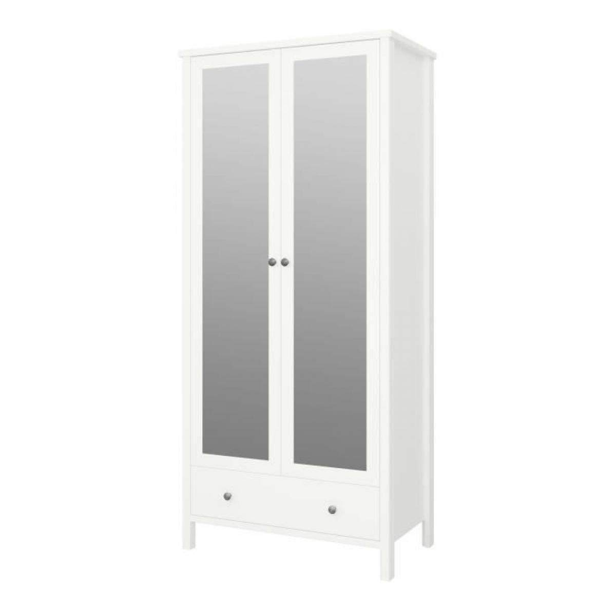 Cstore TROMSÖ Armoire 2 portes miroir + 1 tiroir - Laqué blanc MDF