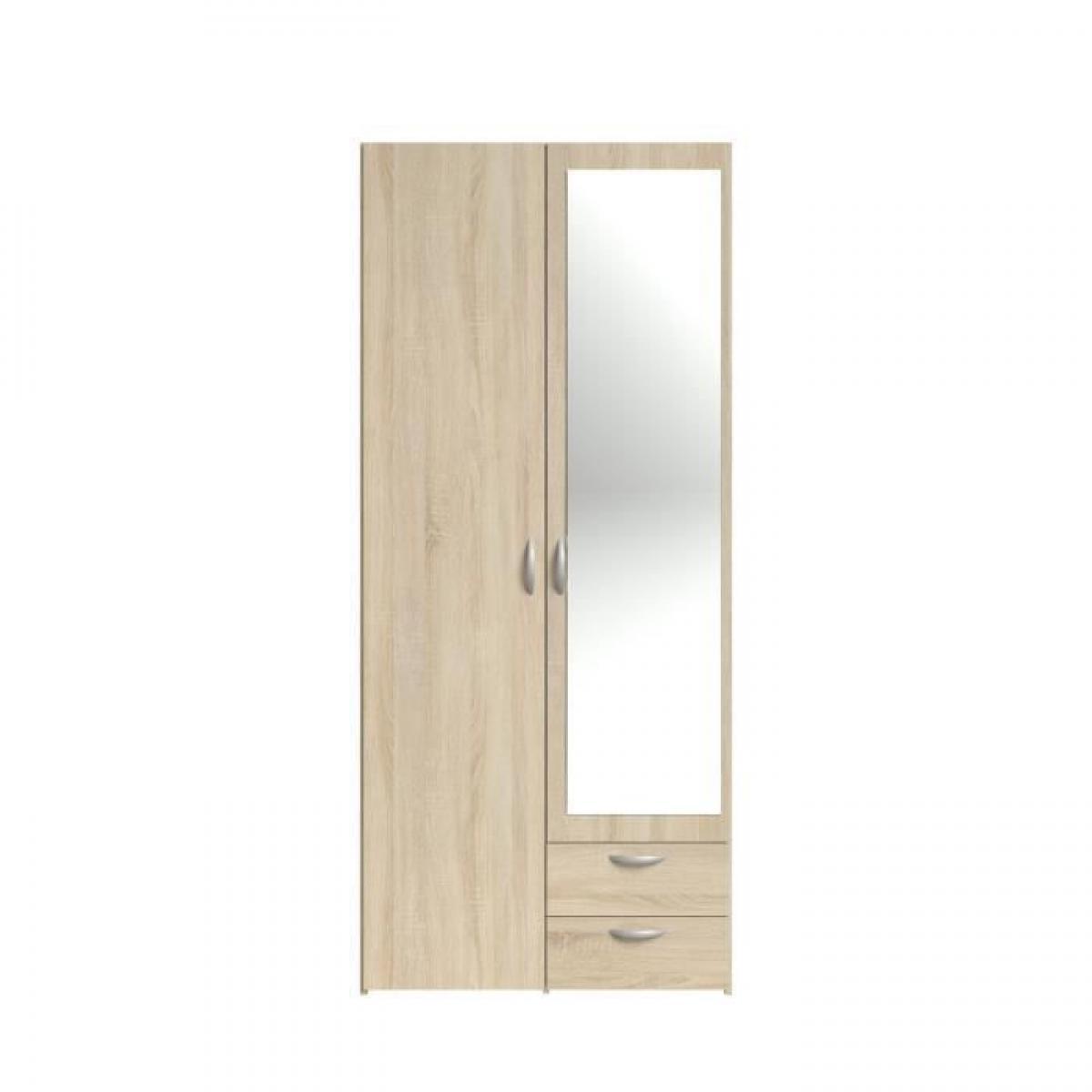 Cstore VARIA Armoire 2 portes miroir décor chene